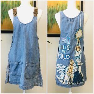 Vintage one-of-a-kind graphic jean jumper dress